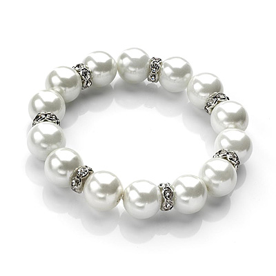 Snow White Pearl Crystal Flex Bracelet - 17cm Length