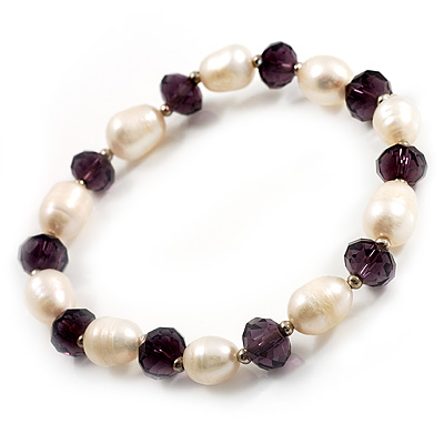 Ivory Freshwater Pearl & Purple Glass Bead Flex Bracelet -19cm Length