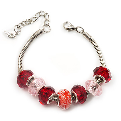 Red &amp; Pink Glass &amp; Acrylic Bead Bracelet (Silver Tone Metal) -17cm Length
