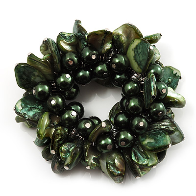 Chunky Forest Green Shell And Bead Flex Bracelet - main view
