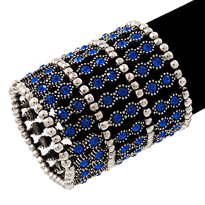 Wide Royal Blue Crystal Flex Bracelet (Silver Tone Finish) - 7cm Width