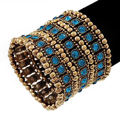 Wide Teal Blue Crystal Flex Bracelet (Burn Gold Tone Finish) - 5cm Width