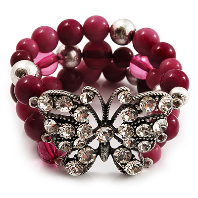 3 Strand Purple Bead Butterfly Flex Bracelet - 17cm Length - main view