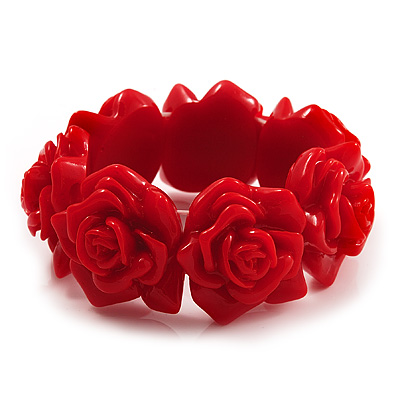 Hot Red Acrylic Rose Flex Bracelet - 19cm Length