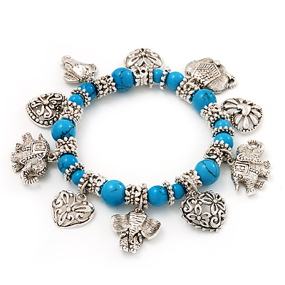 &#039;Heart &amp; Elephant&#039; Turquoise Charm Flex Bracelet (Silver Plated Metal)