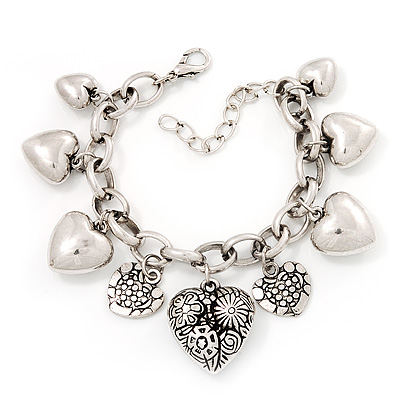 Chunky Oval Link &#039;Heart&#039; Charm Bracelet In Silver Tone Metal - 18cm Length with 5cm extension