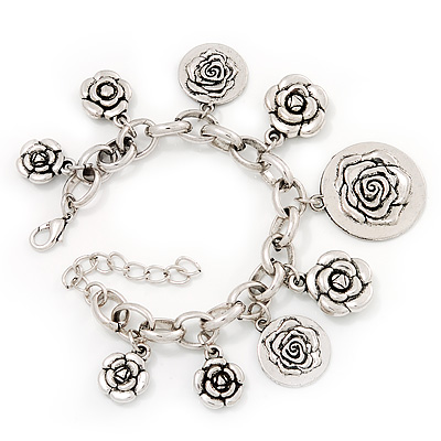 Chunky Oval Link &#039;Rose&#039; Charm Bracelet In Silver Tone Metal - 18cm Length with 5cm extension
