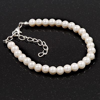 Classic Pearl Style Bracelet In Silver Tone Finish (6mm) - 16cm length with 4cm extension - main view