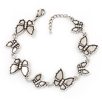 Antique Silver Butterfly Bracelet - 18cm Length & 3cm Extension - main view
