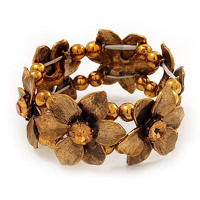 Antique Gold Flower Diamante Flex Bracelet - Up to 19cm length