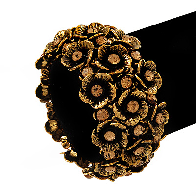 Wide Antique Gold Flower Diamante Flex Bracelet - Up to 19cm length