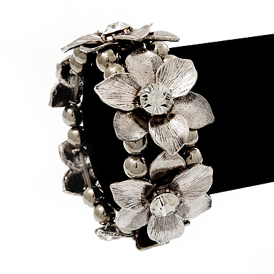 Antique Silver Flower Diamante Flex Bracelet - Up to 19cm length