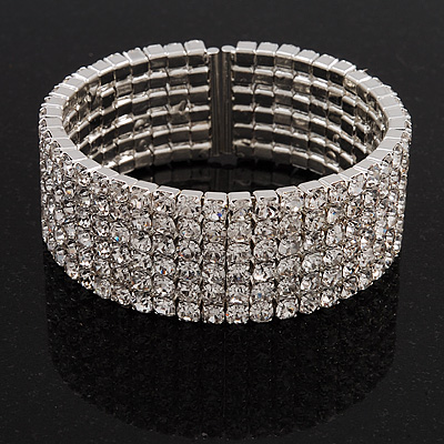 6-Row Cubic Zirconia Flex Bangle Bracelet (Silver Tone)