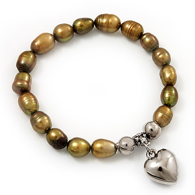 Brass Coloured Freshwater Pearl Silver Metal &#039;Heart&#039; Flex Bracelet (Up To 19cm Length)