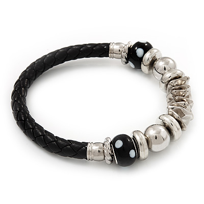 Silver Tone Metal Bead Black Leather Flex Bracelet - up to 20cm Length