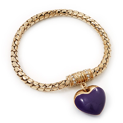 Gold Plated Magnetic Purple Enamel Heart Charm Bracelet - up to 18cm Length