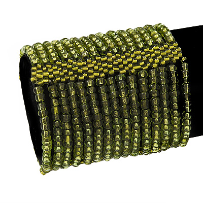 Wide Olive Green Glass Bead Flex Bracelet - up to 19cm wrist