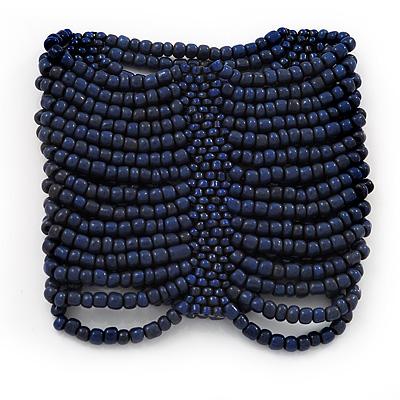 Wide Dark Blue Glass Bead Flex Bracelet - up to 19cm wrist