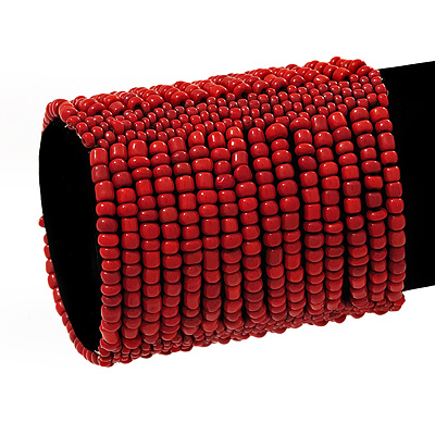 Wide Coral Red Glass Bead Flex Bracelet - up to 19cm wrist