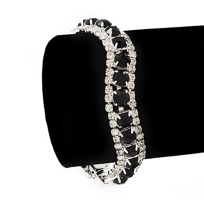 Black/Clear Swarovski Crystal Curved Bracelet In Rhodium Plated Metal - 17cm Length