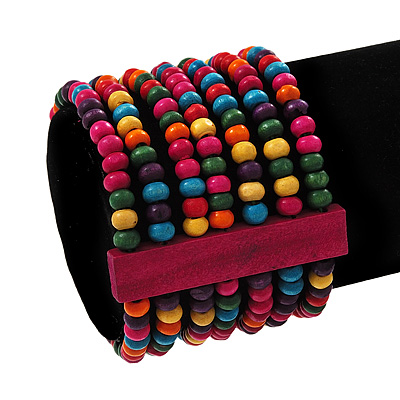 Multicoloured Multistrand Wood Bead Bracelet - up to 19cm wrist