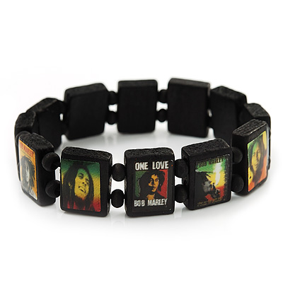 Black Bob Marley &quot;One Love&quot; Wooden Stretch Bracelet - up to 20cm length