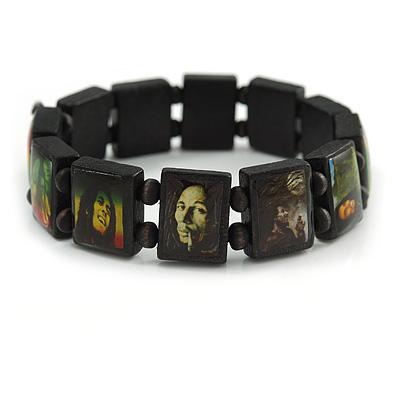 "Black Bob Marley ""One Love"" Wooden Stretch Bracelet - up to 20cm length"