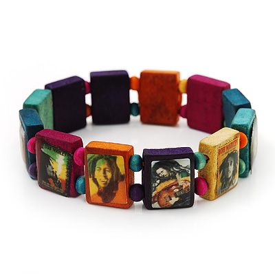 Multicoloured Bob Marley &quot;One Love&quot; Wooden Stretch Bracelet - up to 20cm length