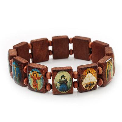 Brown Wooden Religious Images Catholic Jesus Icon Saints Stretch Bracelet - up to 20cm length - main view