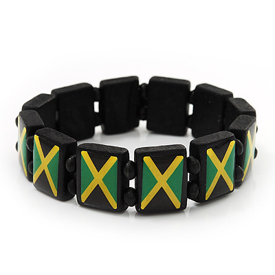 Black Wooden 'Jamaica Flag' Stretch Bracelet - up to 20cm length
