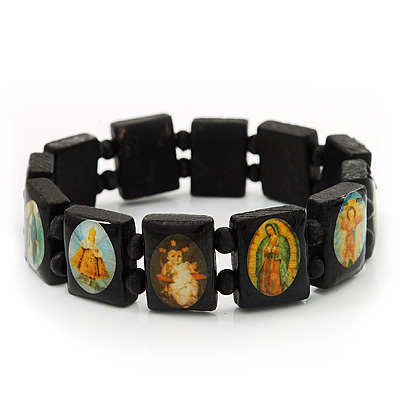 Stretch Dark Brown Wooden Saints Bracelet / Jesus Bracelet / All Saints Bracelet - Up to 20cm Length - main view