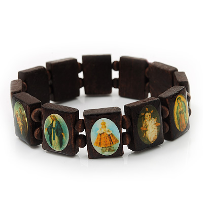 Stretch Wooden Saints Bracelet / Jesus Bracelet / All Saints Bracelet - Up to 20cm Length - main view