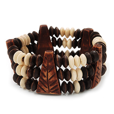 Fancy Multistrand Wooden Bead Bracelet - up to 19cm wrist