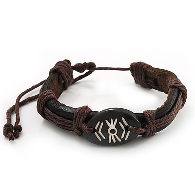 Unisex Dark Brown Leather &#039;Eye&#039; Bracelet - Adjustable - main view