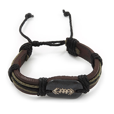 Unisex Brown Leather 'Arrow' Bracelet  - Adjustable