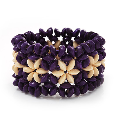 Purple Floral Wood Bead Bracelet - up to 19cm wrist
