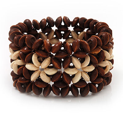 Brown Floral Wood Bead Bracelet - up to 19cm wrist