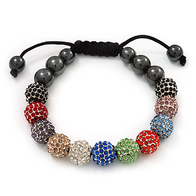 Unisex Multicoloured Swarovski Crystal Balls &amp; Smooth Round Hematite Beads Shamballa Bracelet - 10mm - Adjustable