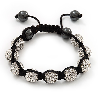 Unisex Clear Swarovski Crystal Balls & Smooth Round Hematite Beads Buddhist Bracelet - 10mm - Adjustable