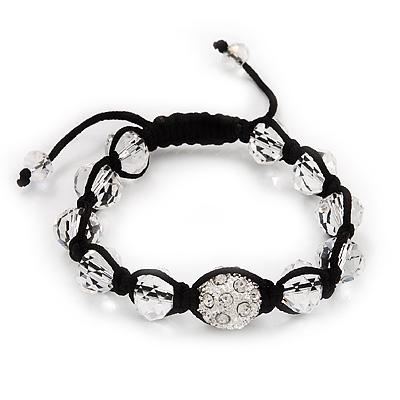 Transparent & Clear Crystal Balls Swarovski Buddhist Bracelet -10mm - Adjustable