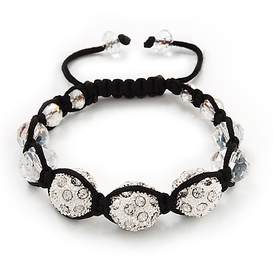 Unisex Swarovski Clear Crystal Balls Shamballa Bracelet - 13mm - Adjustable