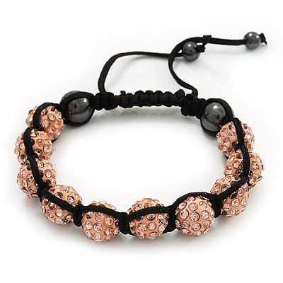 Peach Coloured Swarovski Crystal Balls Shamballa Bracelet - 10mm - Adjustable