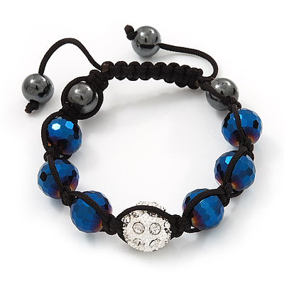 Metallic Blue &amp; Clear Crystal Balls Swarovski Shamballa Bracelet -11mm - Adjustable