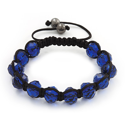 Unisex Montana Blue Glass Beads Shamballa Bracelet - 10mm - Adjustable