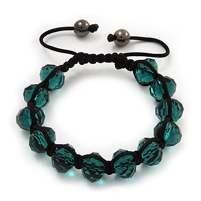 Unisex Emerald Green Glass Beads Shamballa Bracelet - 10mm - Adjustable
