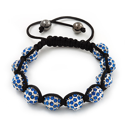 Unisex Shamballa Bracelet Crystal Sapphire Blue Swarovski Crystal Beads 10mm - Adjustable