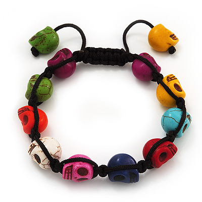 Unisex  Multicoloured Skull Shape Stone Beads Shamballa Bracelet - Adjustable