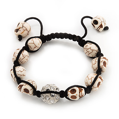 Antique White Skull Shape Stone Beads Shamballa Bracelet - 11mm diameter - Adjustable