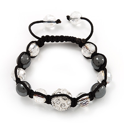 Smooth Round Hematite, Transparent & Clear Crystal Balls Swarovski Shamballa Bracelet - Adjustable