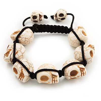 Unisex Antique White Skull Shape Stone Beads Buddhist Bracelet - 17mm diameter - Adjustable